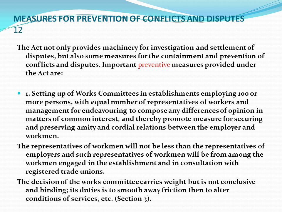 MEASURES FOR PREVENTION OF CONFLICTS AND DISPUTES 12