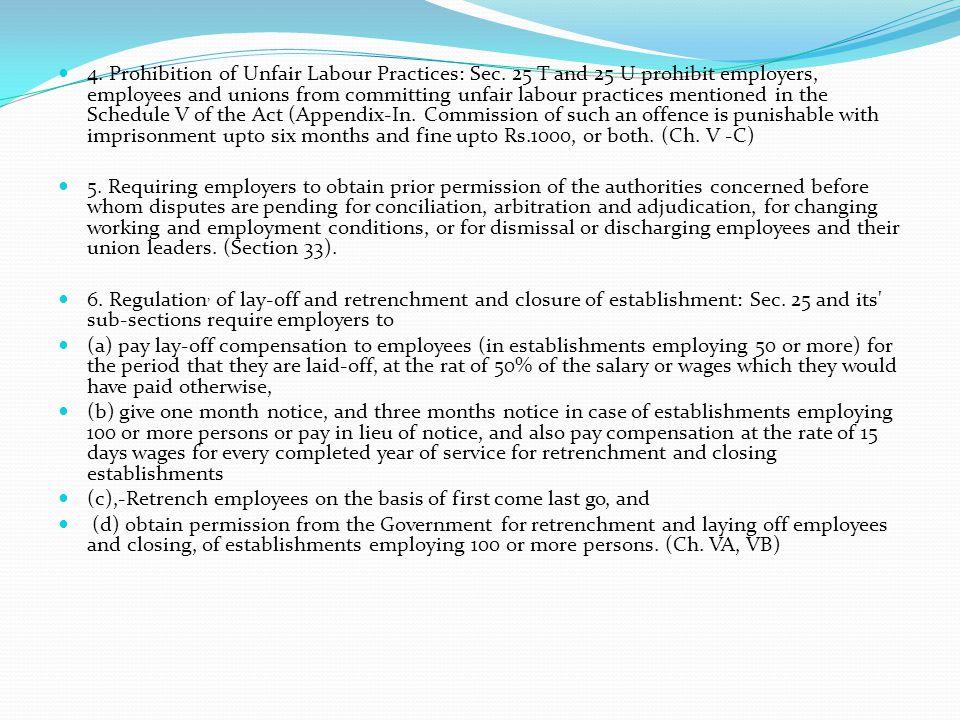 4. Prohibition of Unfair Labour Practices: Sec