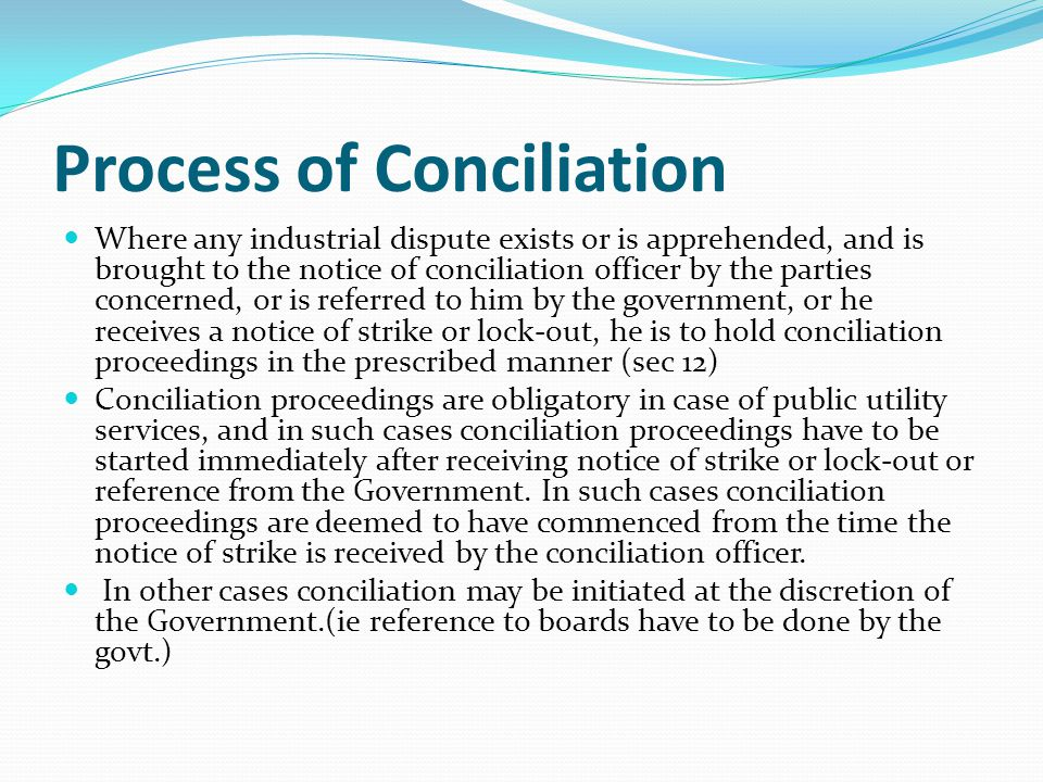 Process of Conciliation