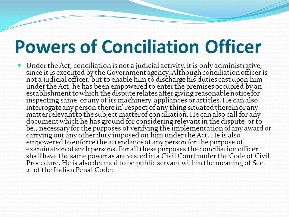 Powers of Conciliation Officer