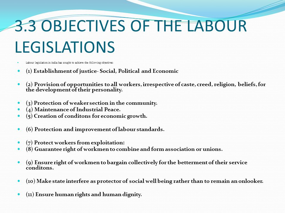 3.3 OBJECTIVES OF THE LABOUR LEGISLATIONS