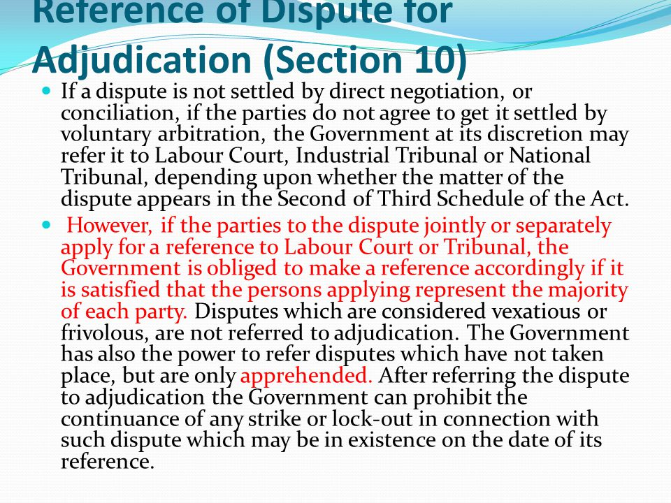 Reference of Dispute for Adjudication (Section 10)