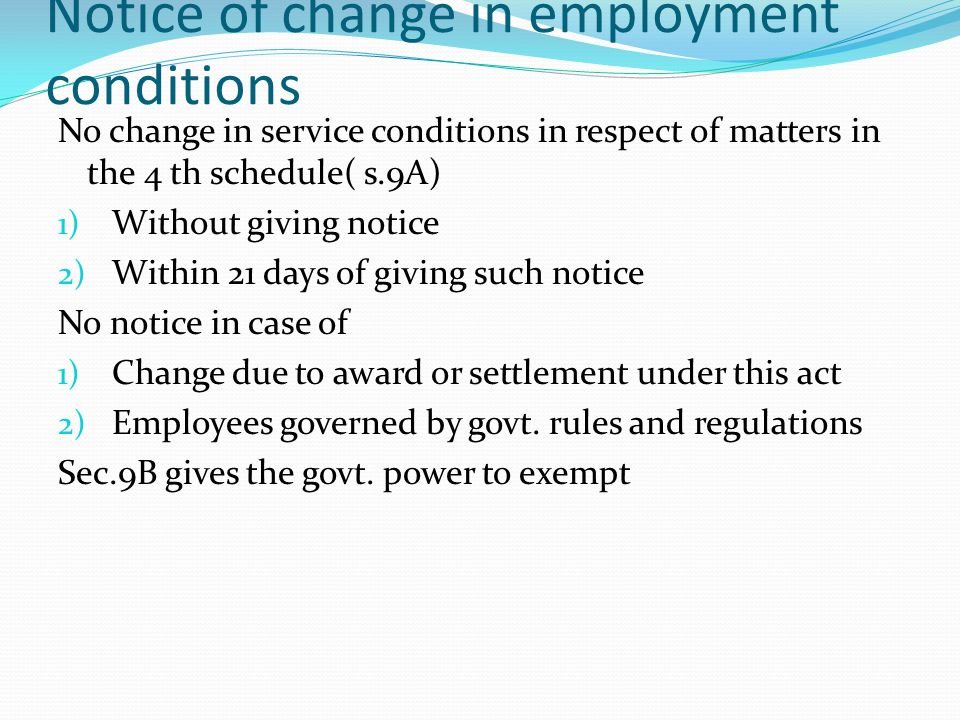 Notice of change in employment conditions