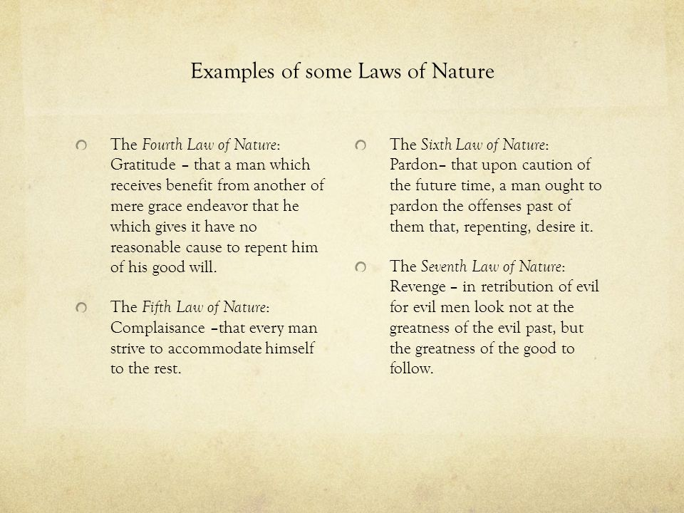 Examples of some Laws of Nature