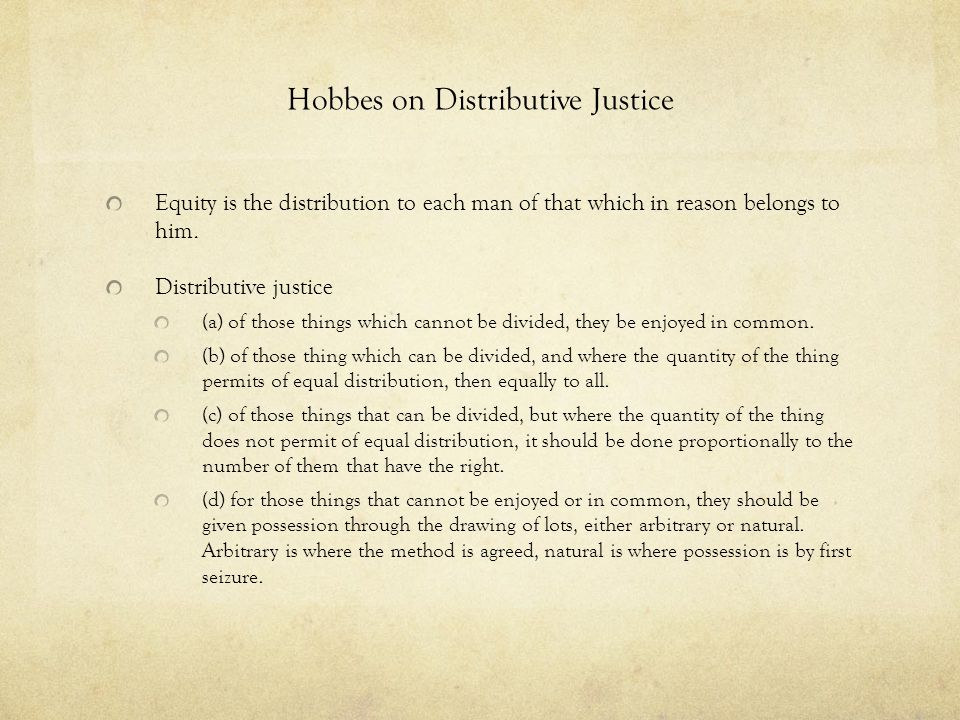 Hobbes on Distributive Justice