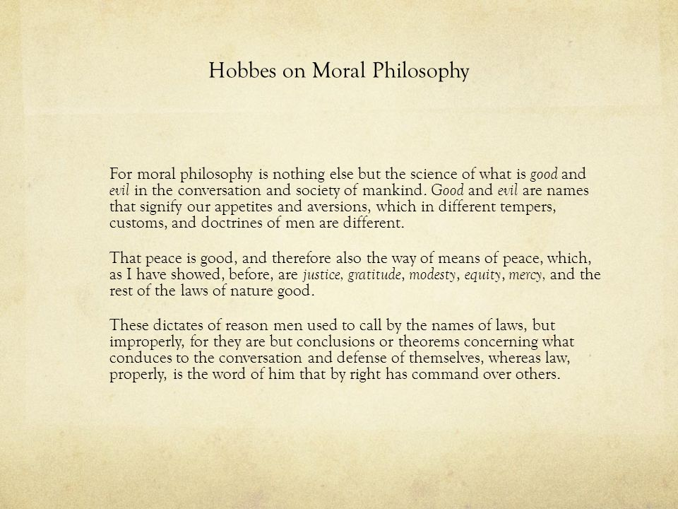 Hobbes on Moral Philosophy