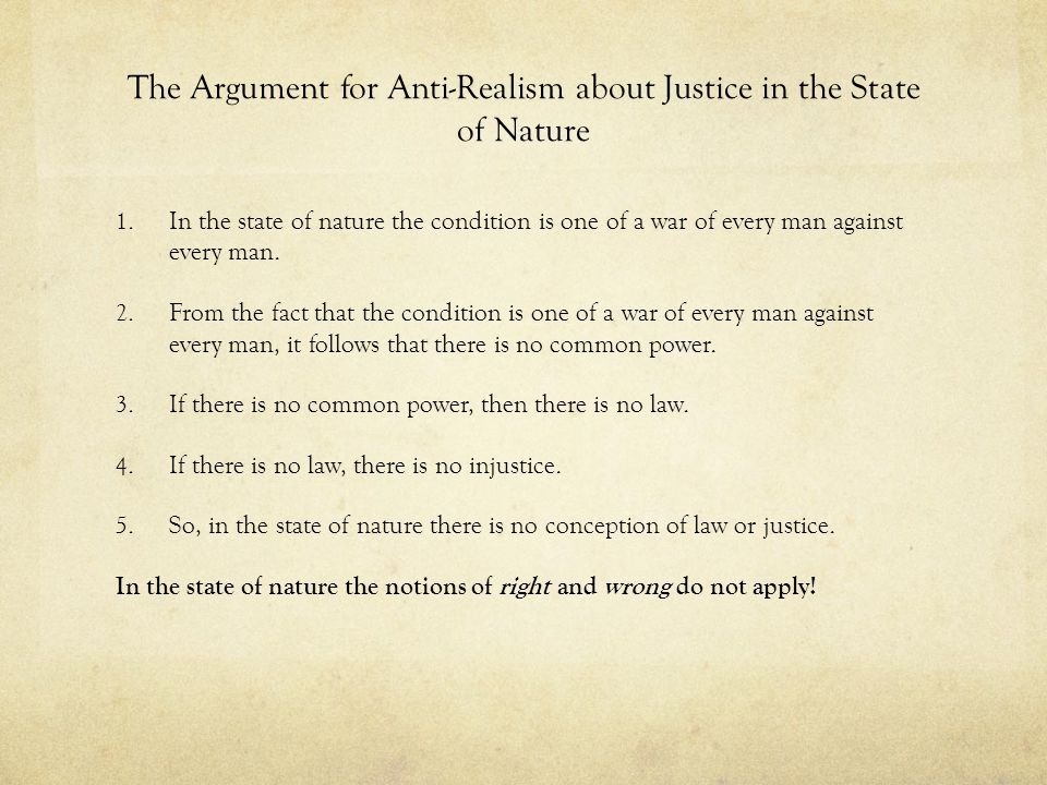 The Argument for Anti-Realism about Justice in the State of Nature