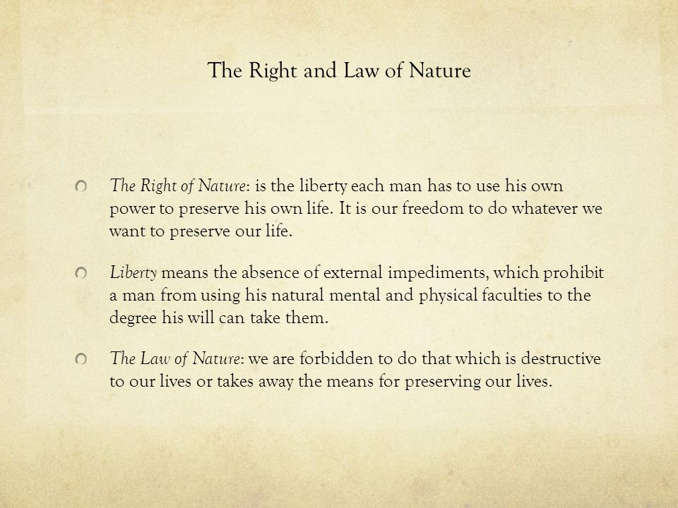 The Right and Law of Nature