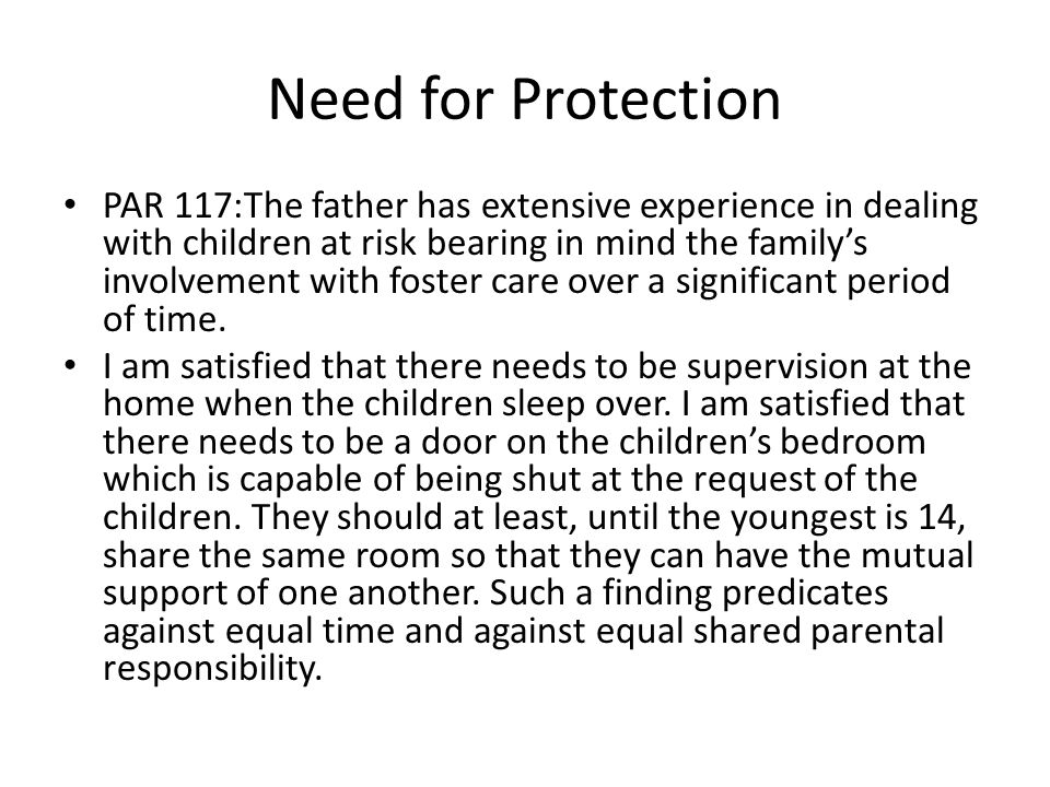 Need for Protection