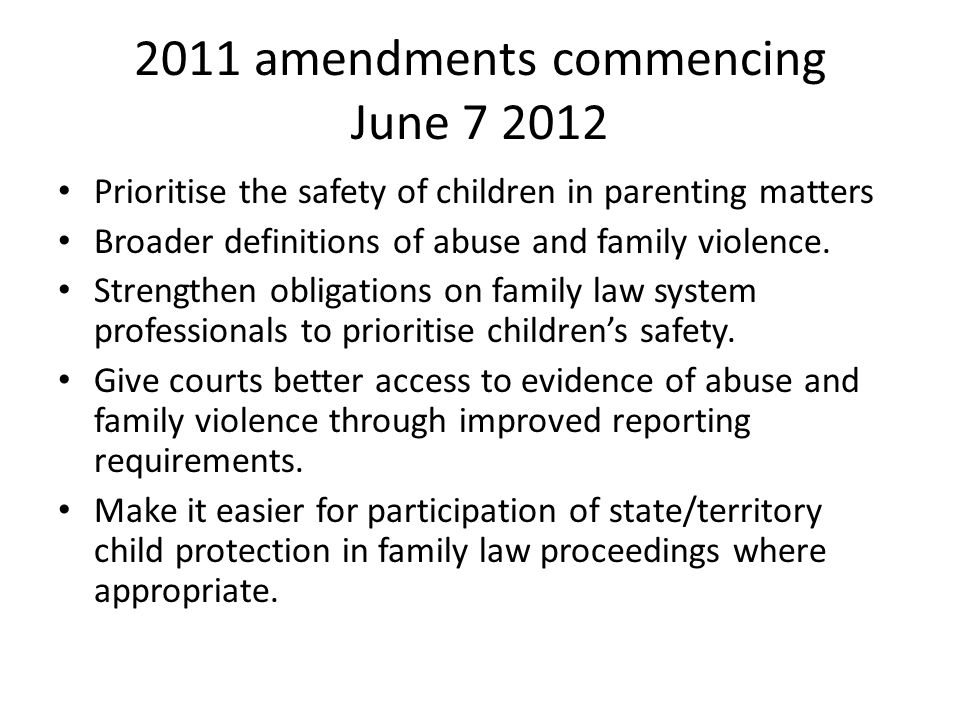 2011 amendments commencing June 7 2012