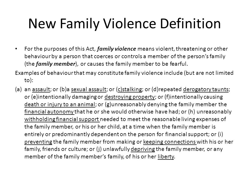 New Family Violence Definition