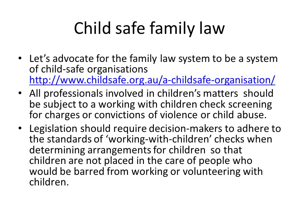 Child safe family law
