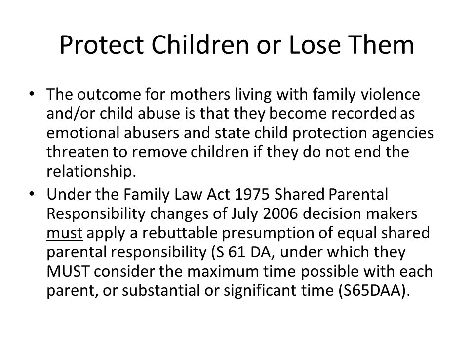 Protect Children or Lose Them