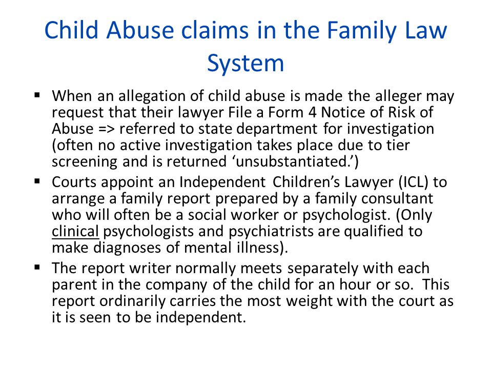 Child Abuse claims in the Family Law System