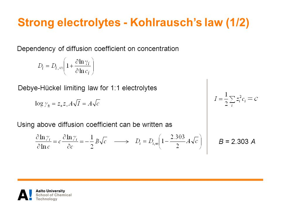 Strong electrolytes - Kohlrausch's law (1/2)