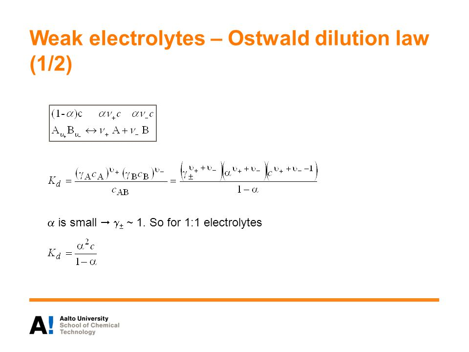 Weak electrolytes – Ostwald dilution law (1/2)