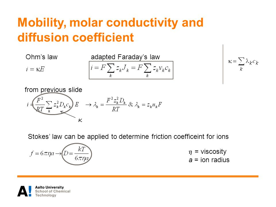 Mobility, molar conductivity and diffusion coefficient