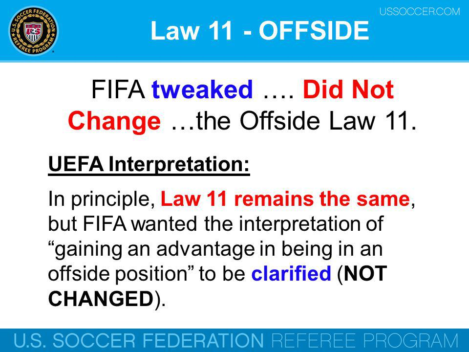 FIFA tweaked …. Did Not Change …the Offside Law 11.