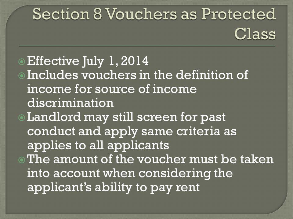 Section 8 Vouchers as Protected Class
