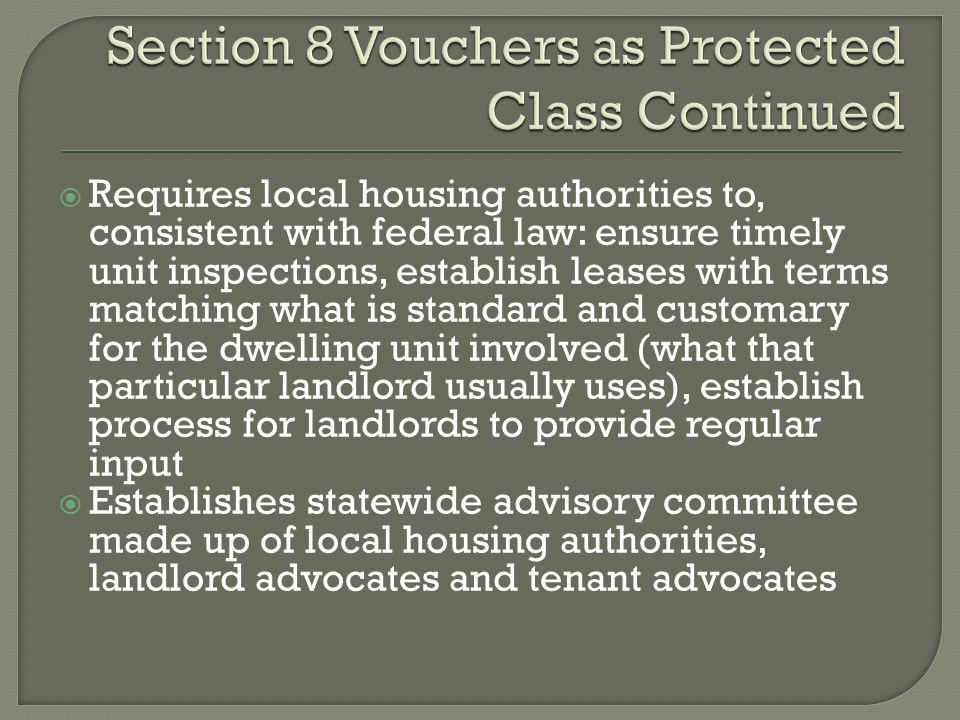 Section 8 Vouchers as Protected Class Continued