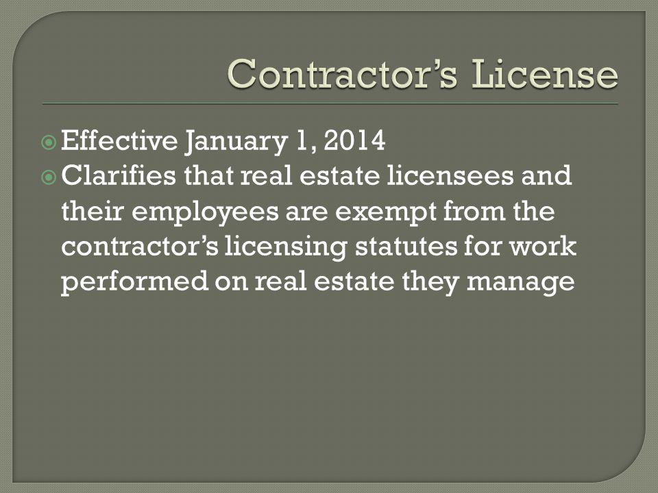 Contractor's License Effective January 1, 2014