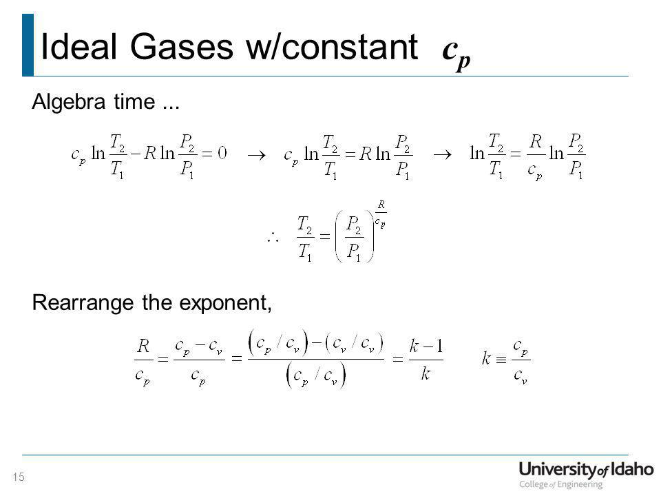 Ideal Gases w/constant cp