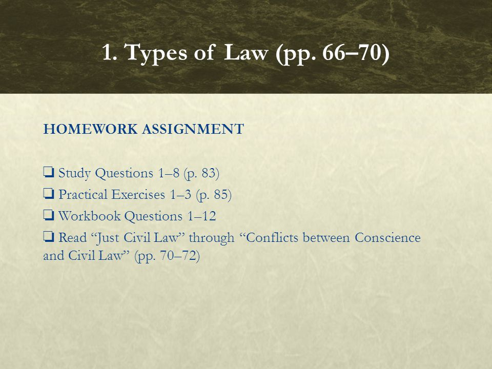 1. Types of Law (pp. 66–70)
