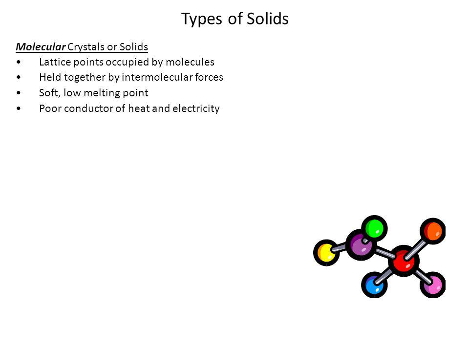 Types of Solids Molecular Crystals or Solids