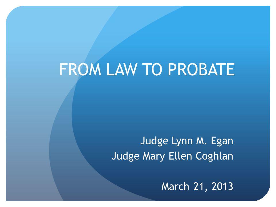 Judge Lynn M. Egan Judge Mary Ellen Coghlan March 21, 2013