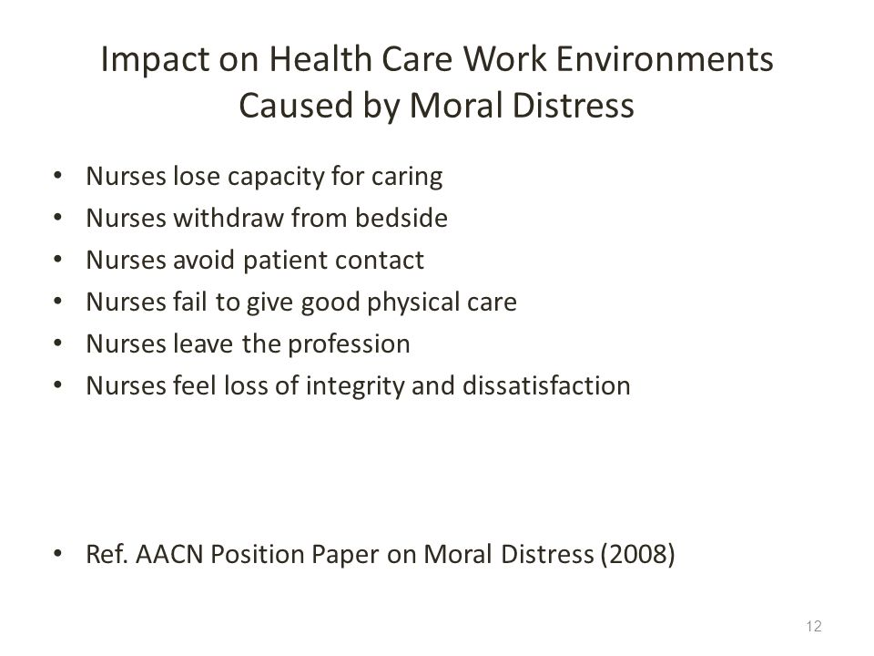 Impact on Health Care Work Environments Caused by Moral Distress