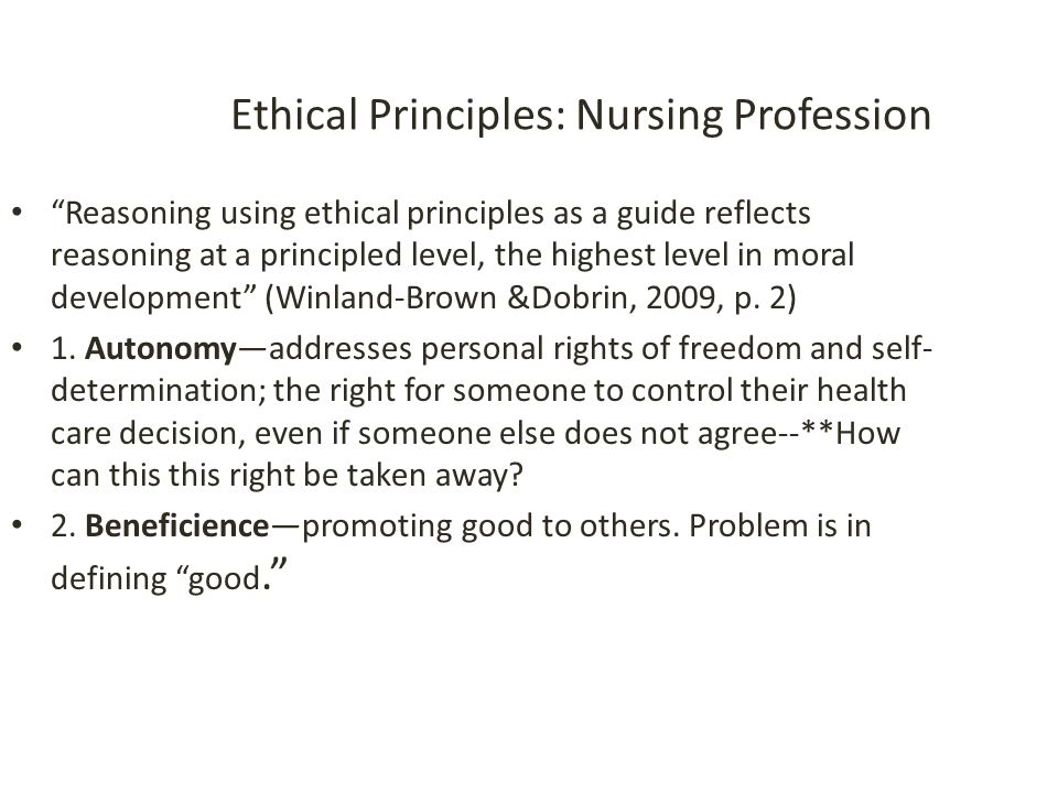 Ethical Principles: Nursing Profession