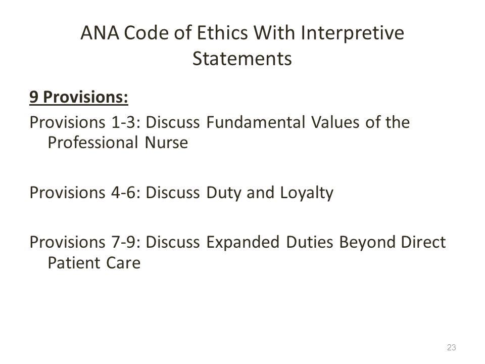 ANA Code of Ethics With Interpretive Statements