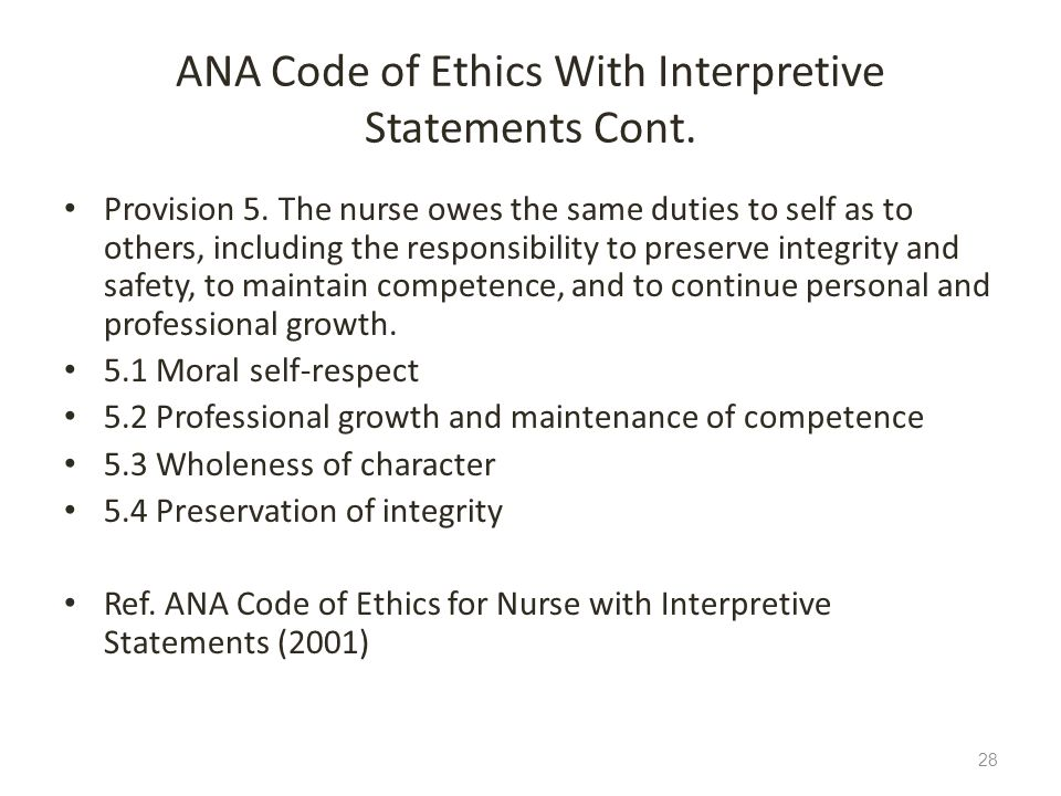 ANA Code of Ethics With Interpretive Statements Cont.