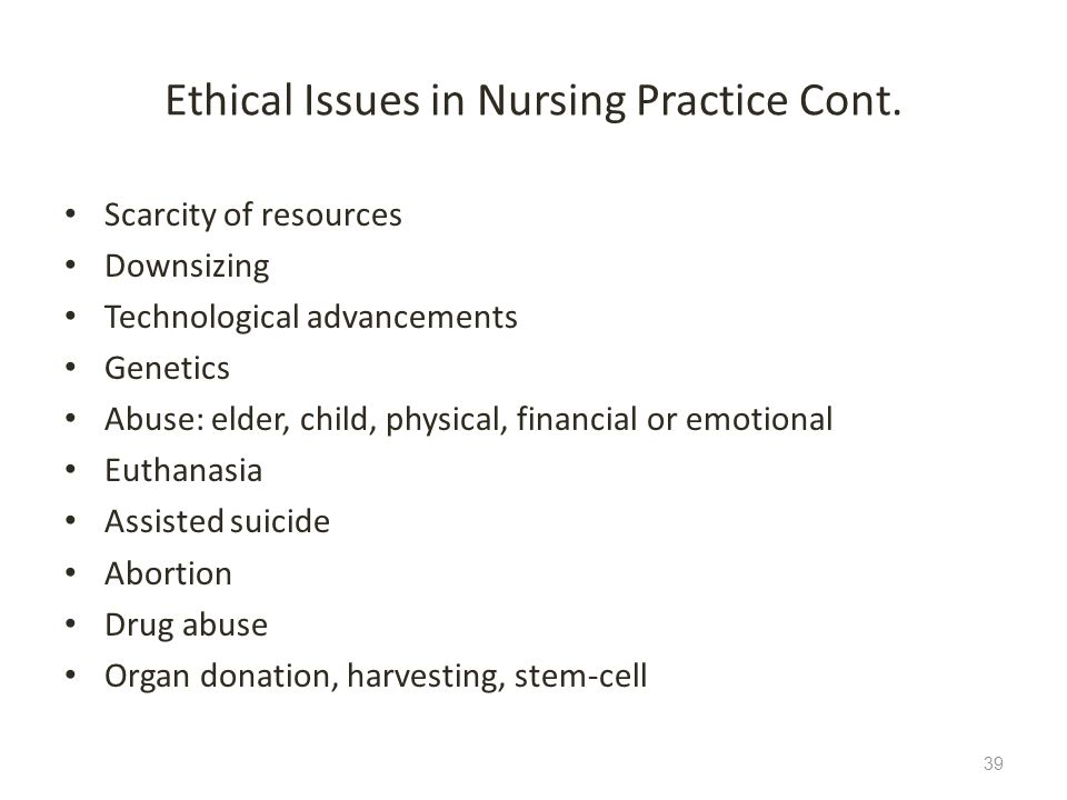 Ethical Issues in Nursing Practice Cont.