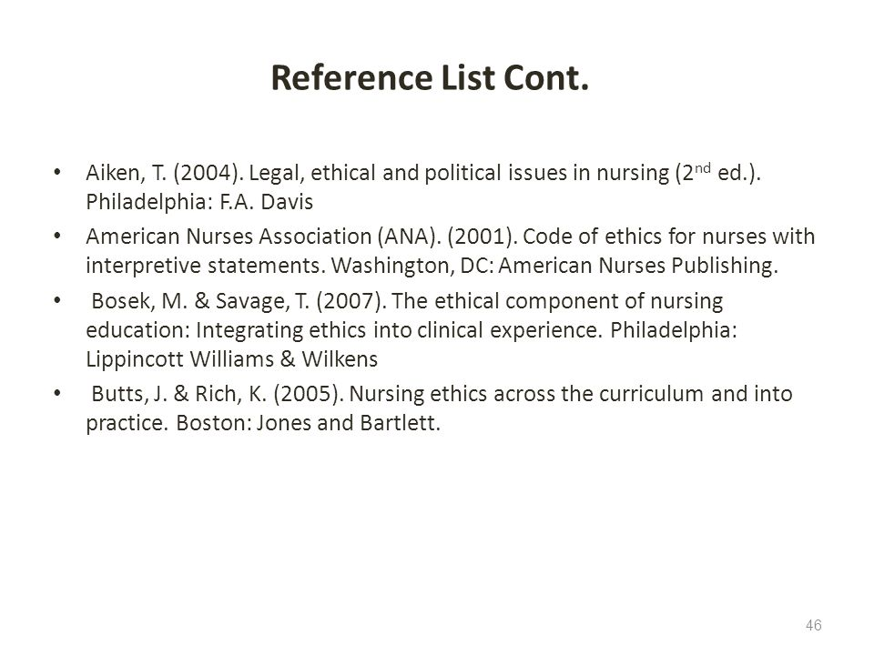Reference List Cont. Aiken, T. (2004). Legal, ethical and political issues in nursing (2nd ed.). Philadelphia: F.A. Davis.
