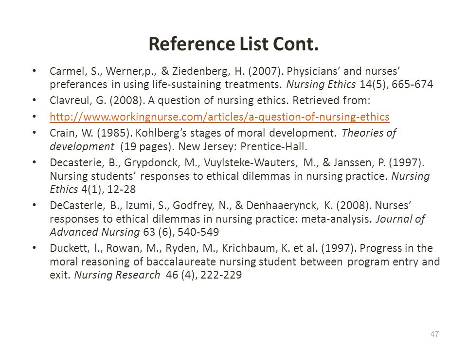 Reference List Cont.