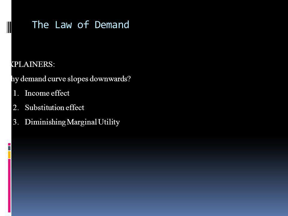 The Law of Demand EXPLAINERS: Why demand curve slopes downwards