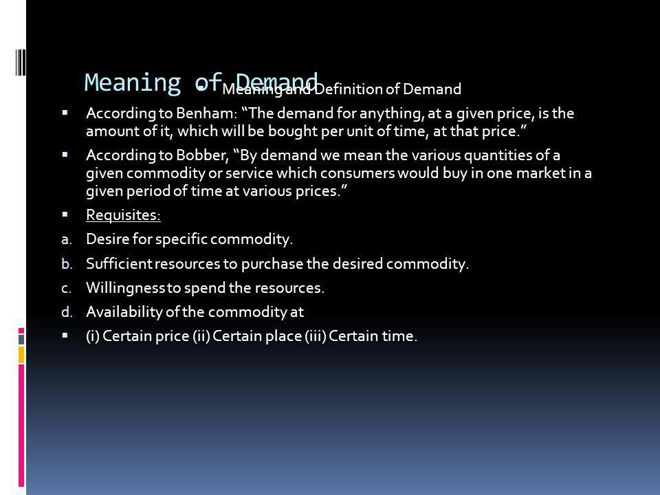 Meaning and Definition of Demand
