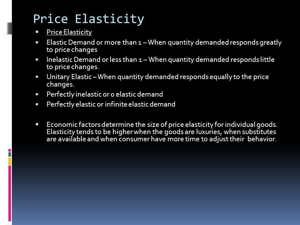 Price Elasticity Price Elasticity