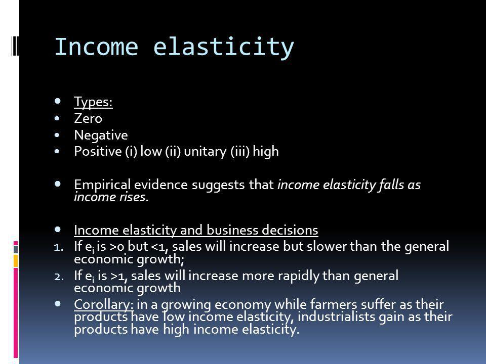 Income elasticity Types: Zero Negative