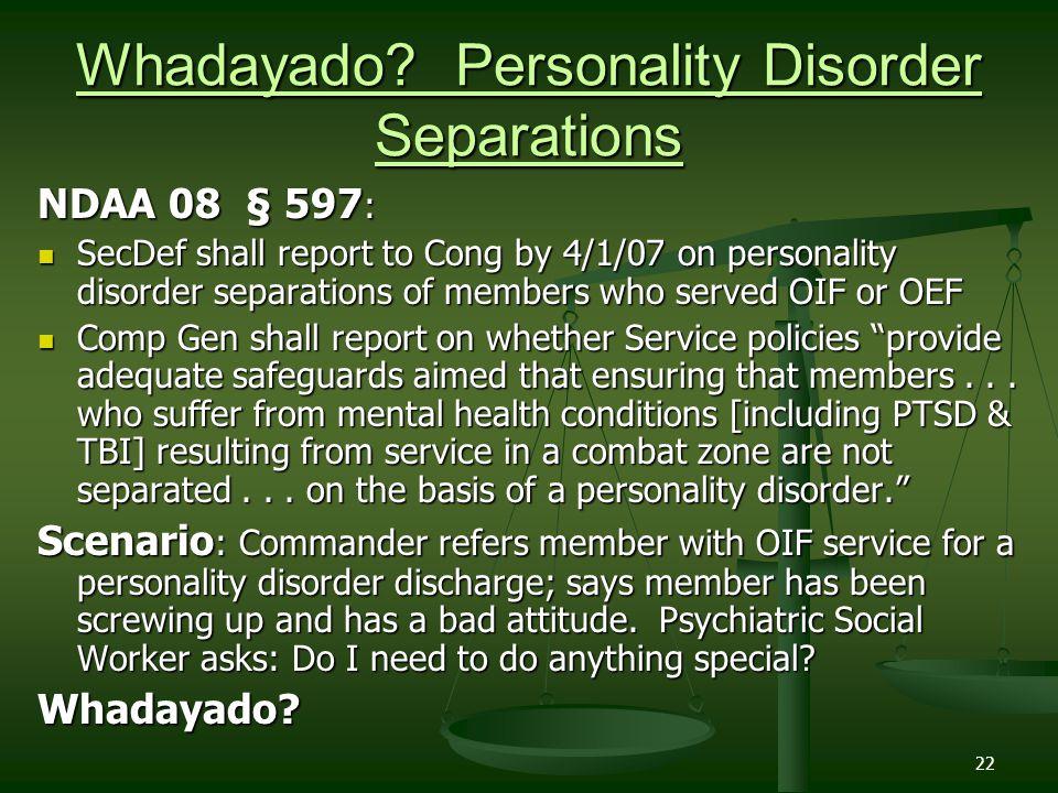 Whadayado Personality Disorder Separations