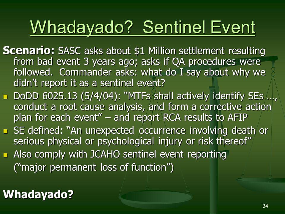 Whadayado Sentinel Event