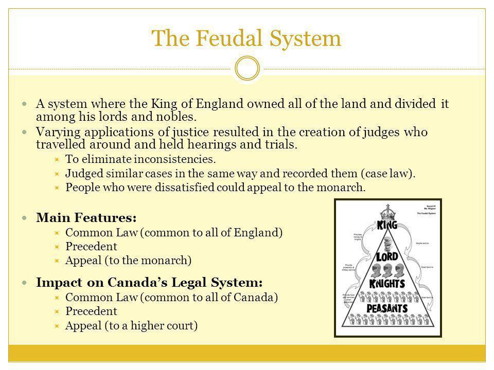The Feudal System A system where the King of England owned all of the land and divided it among his lords and nobles.