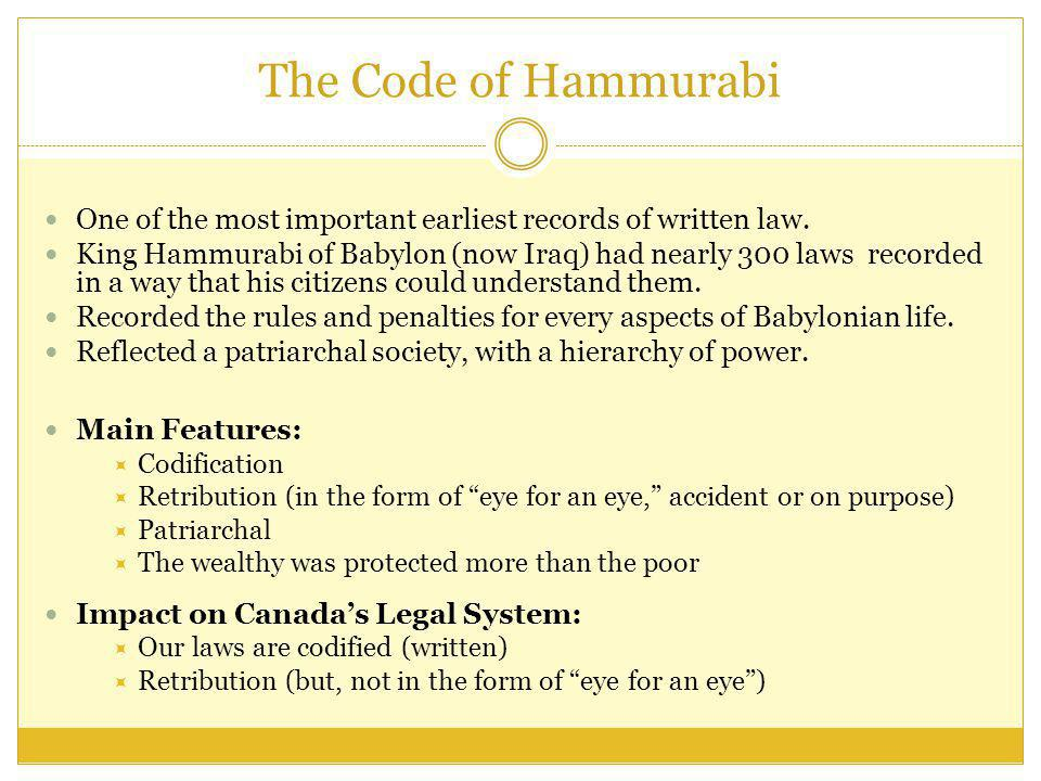 The Code of Hammurabi One of the most important earliest records of written law.