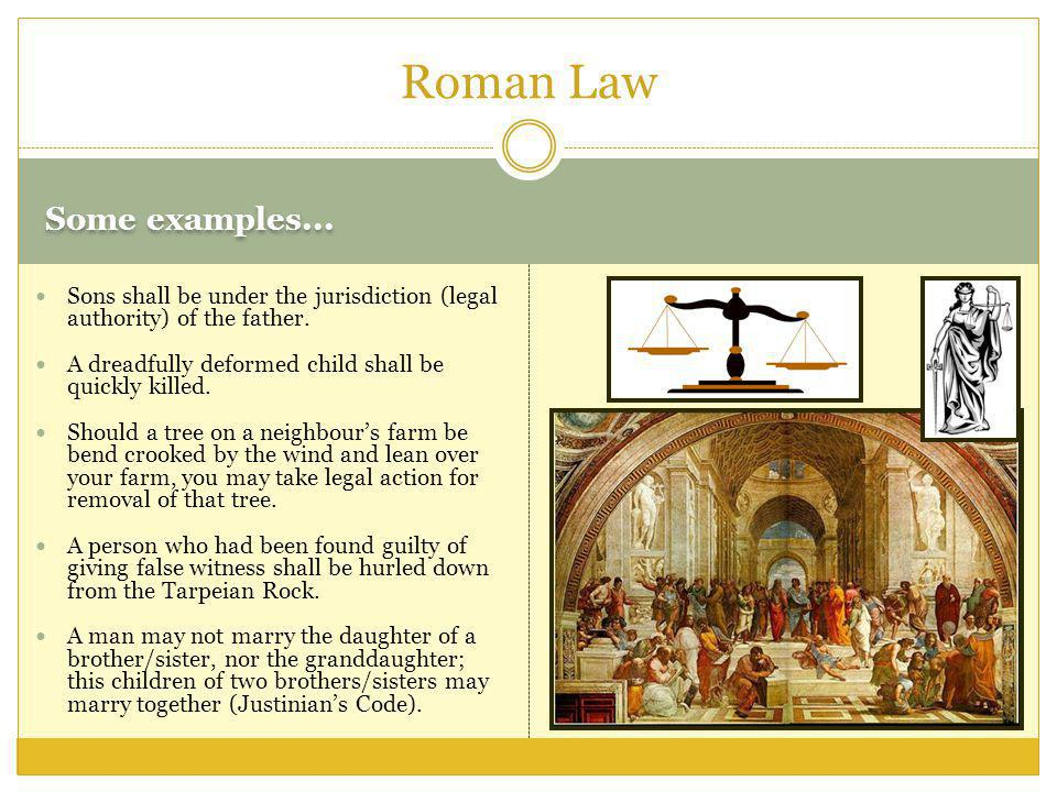 Roman Law Some examples...