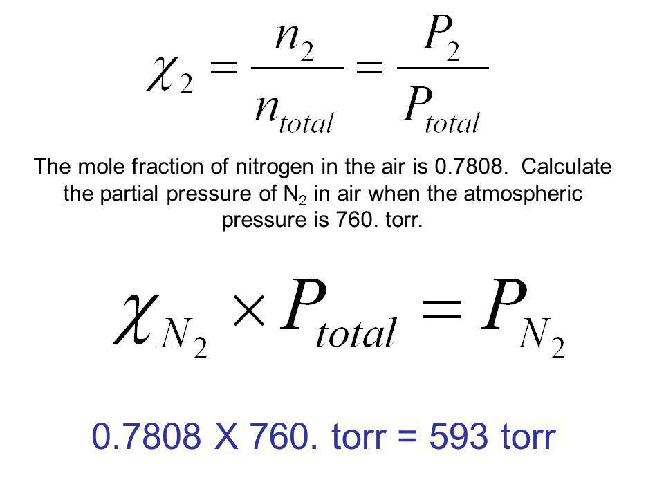 The mole fraction of nitrogen in the air is 0. 7808