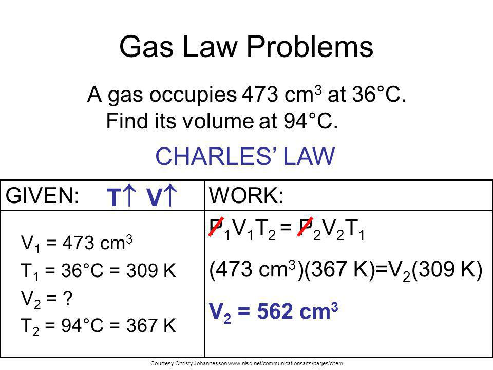 Gas Law Problems CHARLES' LAW T V