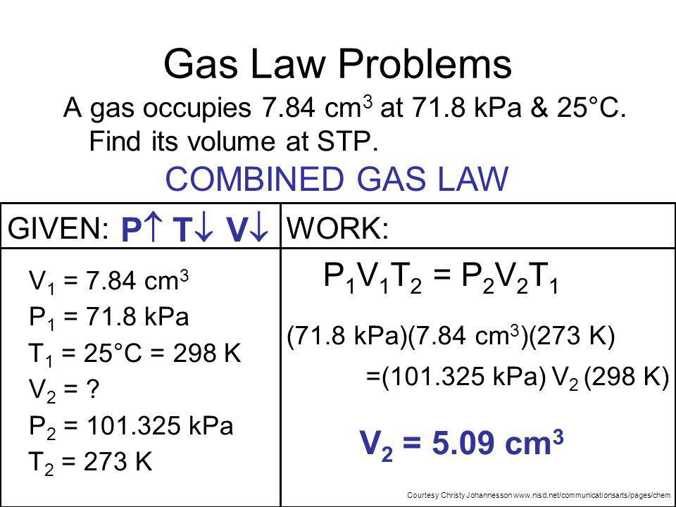 Gas Law Problems COMBINED GAS LAW P T V P1V1T2 = P2V2T1