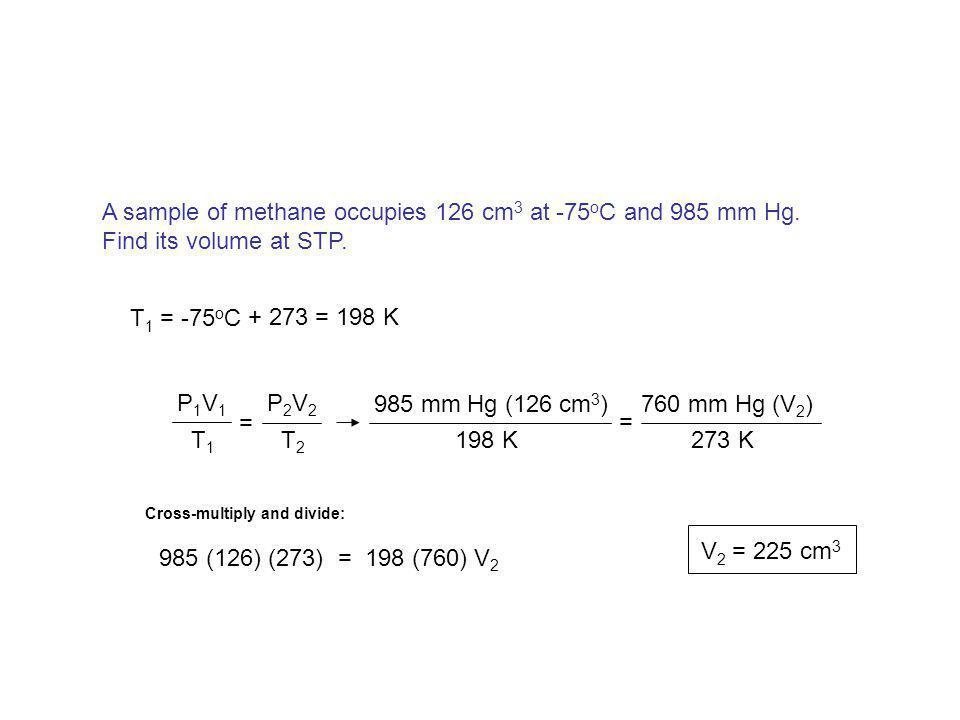 A sample of methane occupies 126 cm3 at -75oC and 985 mm Hg.