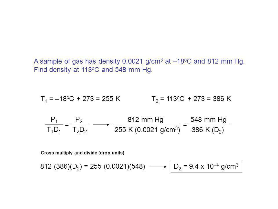 A sample of gas has density 0.0021 g/cm3 at –18oC and 812 mm Hg.